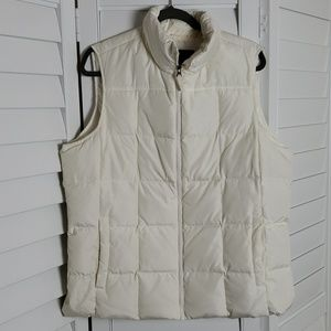 Lands End Down Off White Puffer Vest